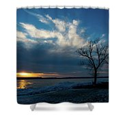 Sunset Along The Mississippi River Shower Curtain
