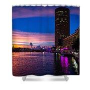 Sunset Along The Riverwalk Shower Curtain