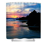 Sunset And Clouds Over Crescent Beach Shower Curtain