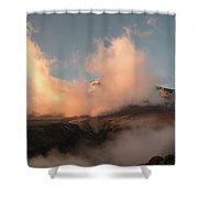 Sunset And Clouds Over The Summit Shower Curtain