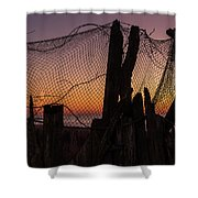 Sunset And Fishing Net Cape May New Jersey Shower Curtain