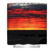Sunset And Jetty Shower Curtain by William Selander