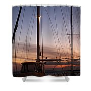 Sunset And Sailboat Shower Curtain