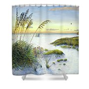 Sunset And Sea Oats At Siesta Key Public Beach Shower Curtain