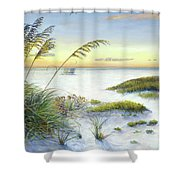 Sunset And Sea Oats At Siesta Key Public Beach -wide Shower Curtain