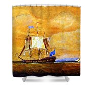 Sunset And Ships Shower Curtain