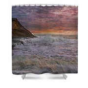 Sunset And Waves At Cape Kiwanda Shower Curtain