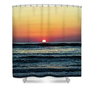 Sunset And Waves Shower Curtain