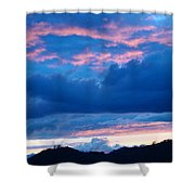 Sunset Art Print Blue Twilight Clouds Pink Glowing Light Over Mountains Shower Curtain