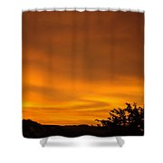 Sunset Art Prints Orange Glowing Western Sunset Baslee Troutman Shower Curtain