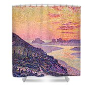 Sunset At Ambleteuse Pas-de-calais Shower Curtain by Theo van Rysselberghe