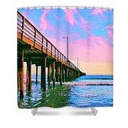 Sunset At Avila Beach Pier Shower Curtain