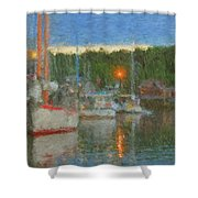 Sunset At Boothbay Harbor Maine Shower Curtain