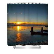 Sunset At Brackesham Bay ,west Sussex ,england  Shower Curtain