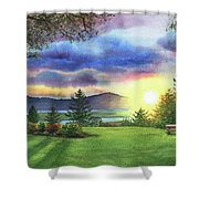 Sunset At Columbia River State Of Washington Shower Curtain