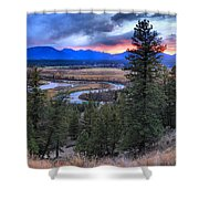 Sunset At Columbia Wetlands Shower Curtain