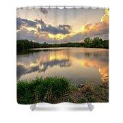 Sunset At Community Lake #8 Shower Curtain