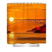 Sunset At Deception Pass Bridge Shower Curtain