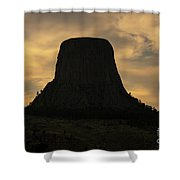 Sunset At Devils Tower Shower Curtain