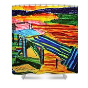 Sunset At Dock Shower Curtain