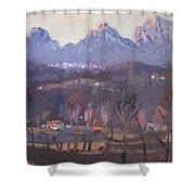Sunset At Dolomites Belluno Shower Curtain