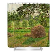 Sunset At Eragny Shower Curtain by Camille Pissarro