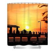 Sunset At Fort De Soto Fishing Pier Pinellas County Park St. Petersburg Florida Shower Curtain