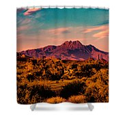 Sunset At Four Peaks Shower Curtain