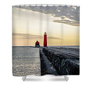 Sunset At Grand Haven Shower Curtain