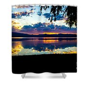 Agency Lake Sunset, Oregon Shower Curtain