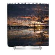 Sunset At Marina In Anacortes In Washington Shower Curtain