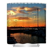 Sunset At Newport Beach Harbor Shower Curtain