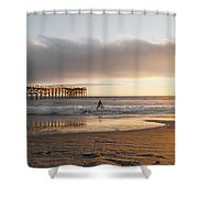 Sunset At Pacific Beach Pier - Crystal Pier - Mission Bay, San Diego, California Shower Curtain