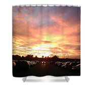 Sunset At Parking Lot Shower Curtain