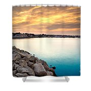 Sunset At Plymouth Harbor Shower Curtain