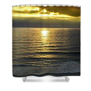 Sunset At Praia Pequena, Small Beach In Sintra Portugal Shower Curtain
