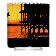 Sunset At Raft With Bird Shower Curtain