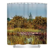Sunset At River In Old Dutch Village Shower Curtain