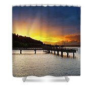 Sunset At Ruston Way Waterfront In Tacoma Shower Curtain