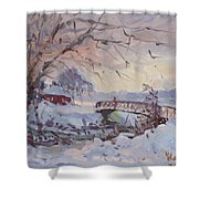 Sunset At Snow-covered Niawanda Park Shower Curtain