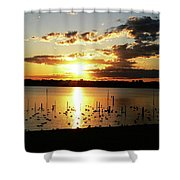 Sunset At The Bath House Shower Curtain