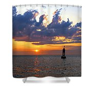 Sunset At The Bell Buoy Shower Curtain