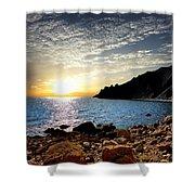 Sunset At The Black Sea Coast. Crimea Shower Curtain