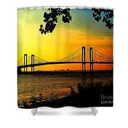 Sunset At The Delaware Memorial Bridge Shower Curtain