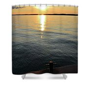 Sunset At The Dock  Shower Curtain