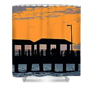 Sunset At The Fishing Pier Shower Curtain