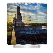 Sunset At The Flood Wall Shower Curtain