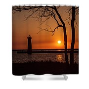 Sunset At The Lighthouse In Muskegon Michigan Shower Curtain