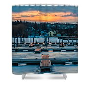 Sunset At The Marina In Winter Shower Curtain
