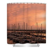 Sunset At The Marina Shower Curtain